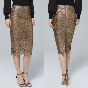 WHBM Metallic Gold Lace Pencil Skirt Floral NWT